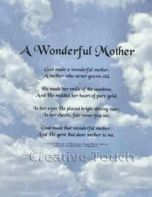 poem personalized print a wonderful mother